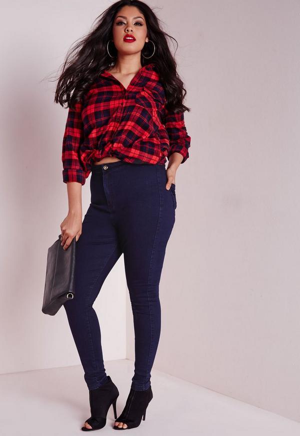 Plus Size High Waisted Skinny Jeans Indigo Blue