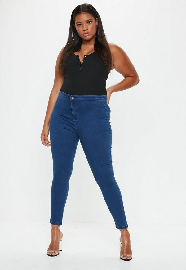 Plus Size High Waisted Skinny Jeans Mid Blue
