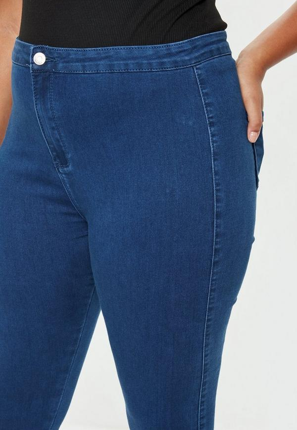 810a3a77f73 Plus Size Mid Blue High Waisted Skinny Jeans. 30