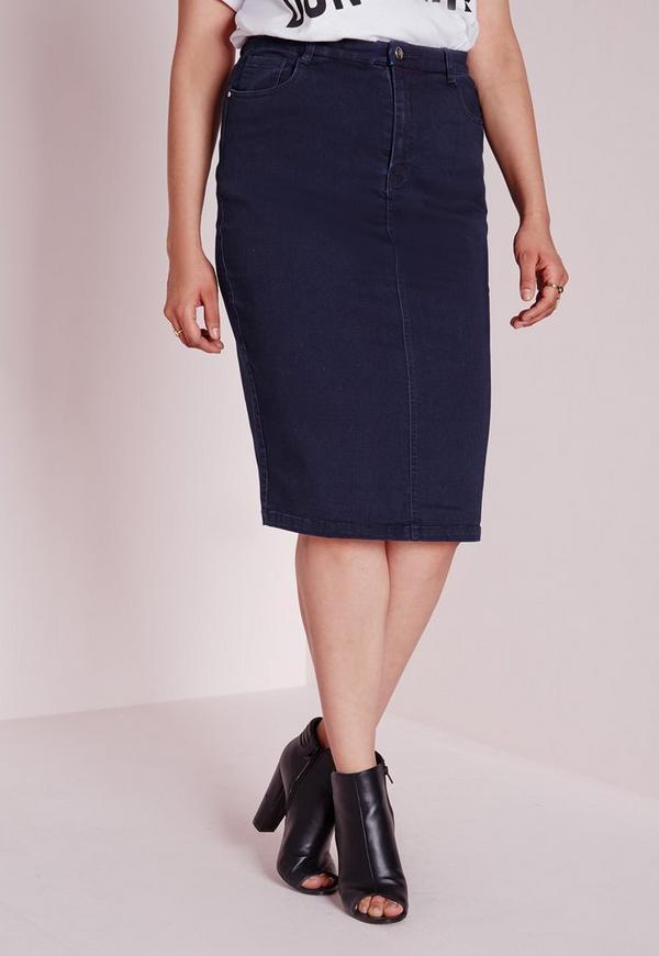 plus size midi denim skirt indigo missguided australia