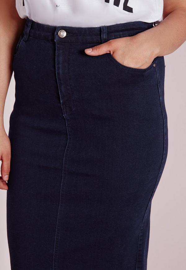plus size midi denim skirt indigo missguided
