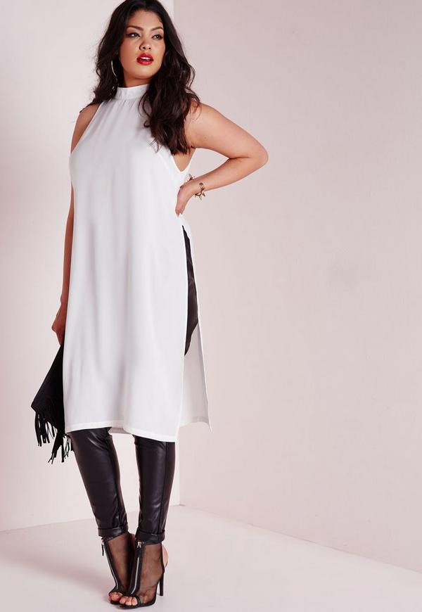 Plus Size Side Split Tunic Cream