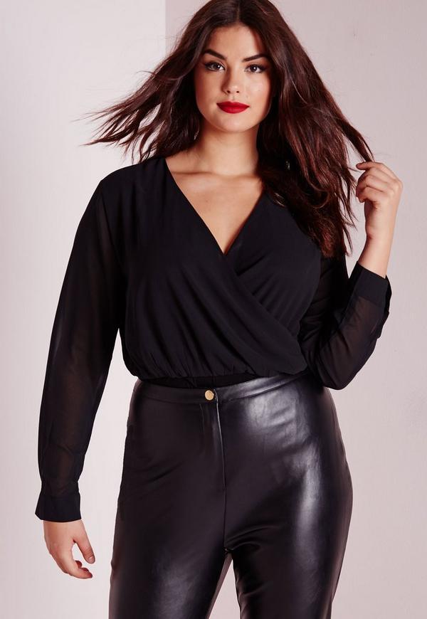 Plus Size Chiffon Wrap Bodysuit Black