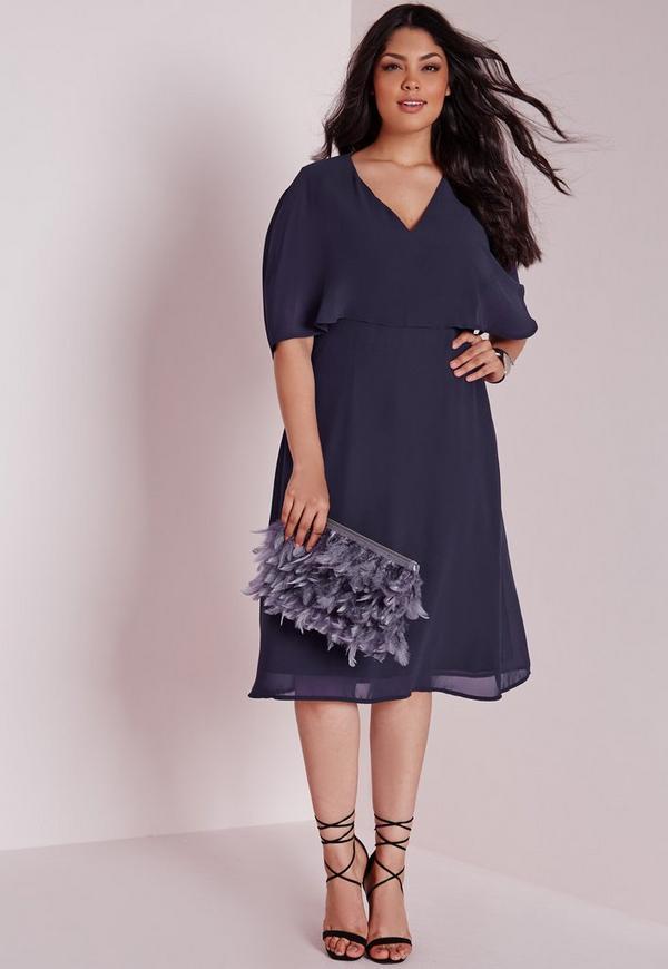 robe mi longue grande taille effet mousseline bleu marine