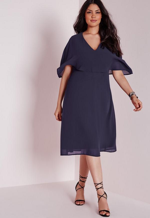 robe mi longue grande taille effet mousseline bleu marine missguided. Black Bedroom Furniture Sets. Home Design Ideas