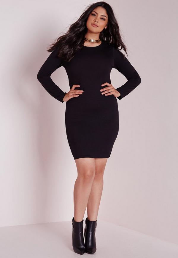 Plus Size Long Sleeve Jersey Black