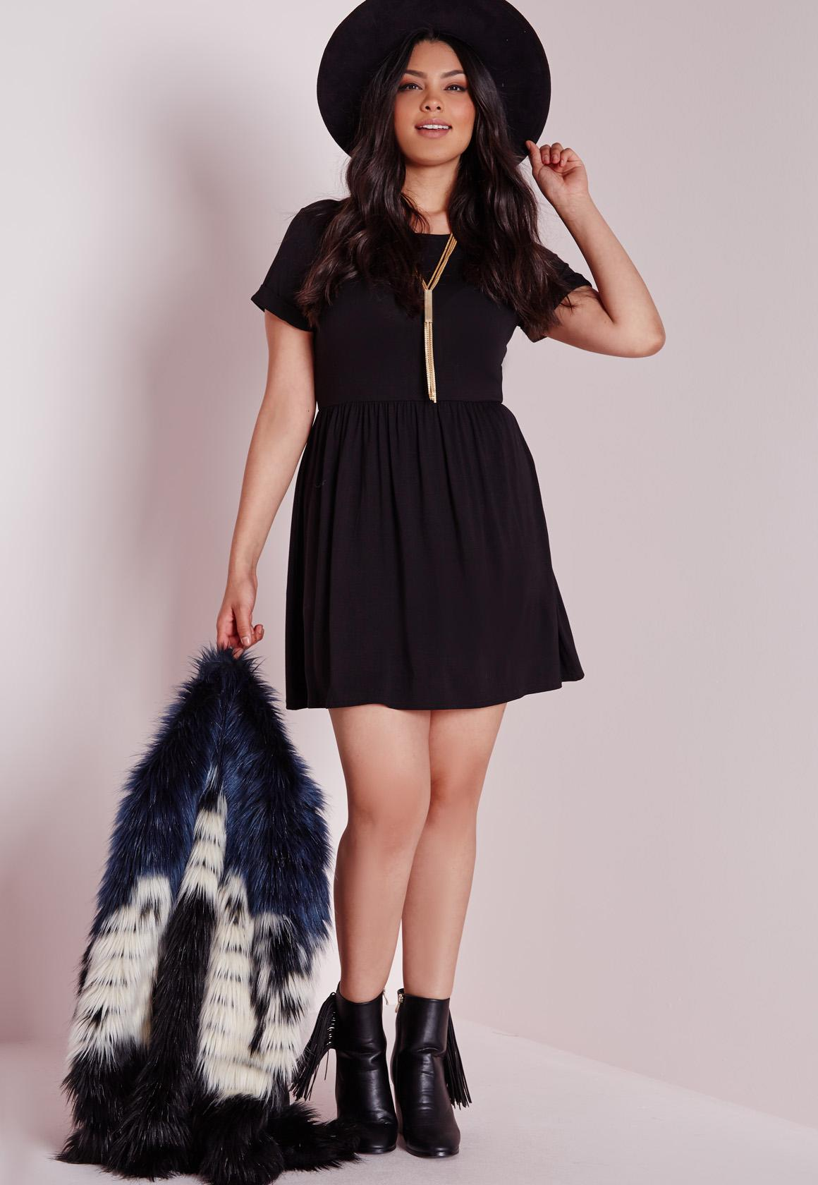 Plus Size Jersey T-Shirt Skater Dress Black | Missguided