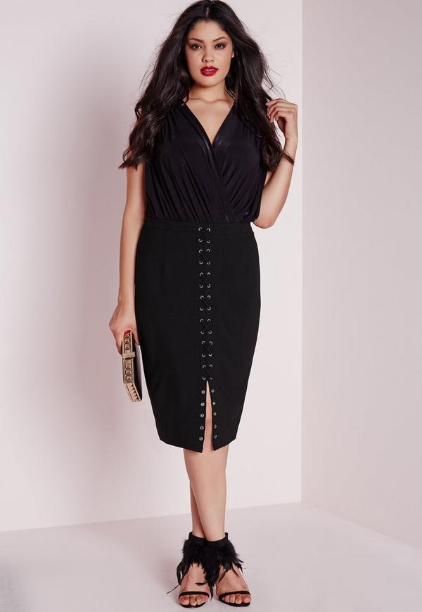 Plus Size Lace Up Midi Skirt Black