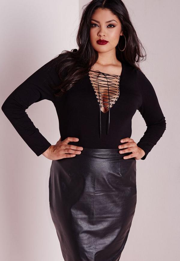 Plus Size Lace Up Bodysuit Black