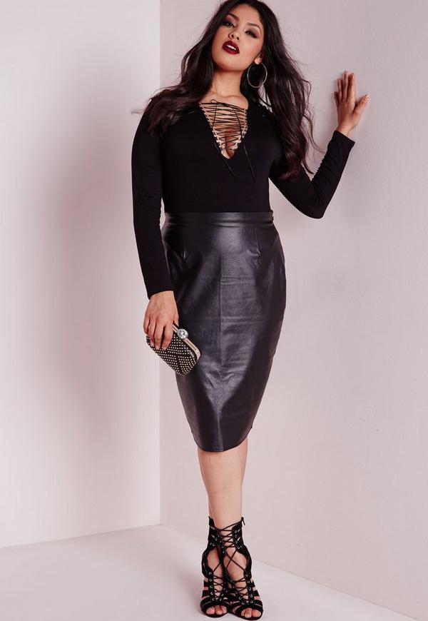 plus size lace up bodysuit black   missguided australia