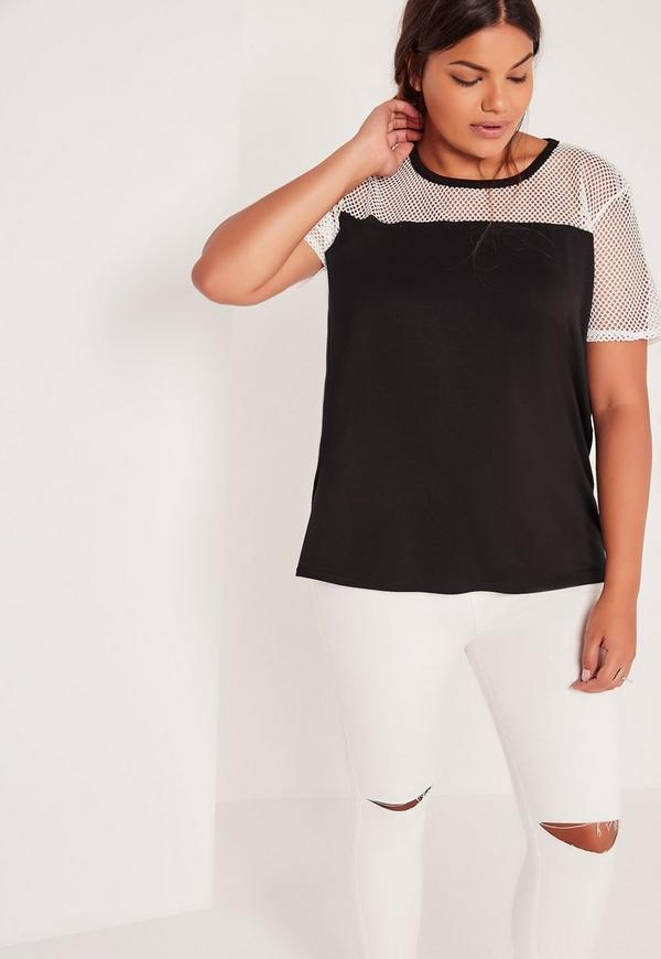 Plus Size Fishnet Panel T shirt White