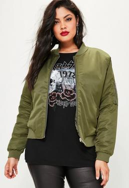 Plus Size Khaki Soft Touch Bomber Jacket