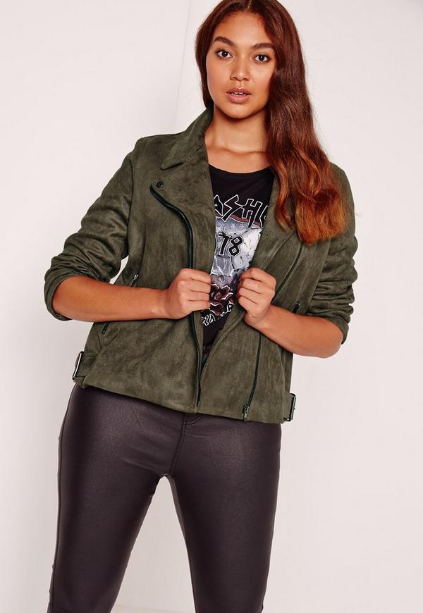 Plus Size Bonded Faux Suede Biker Jacket Khaki
