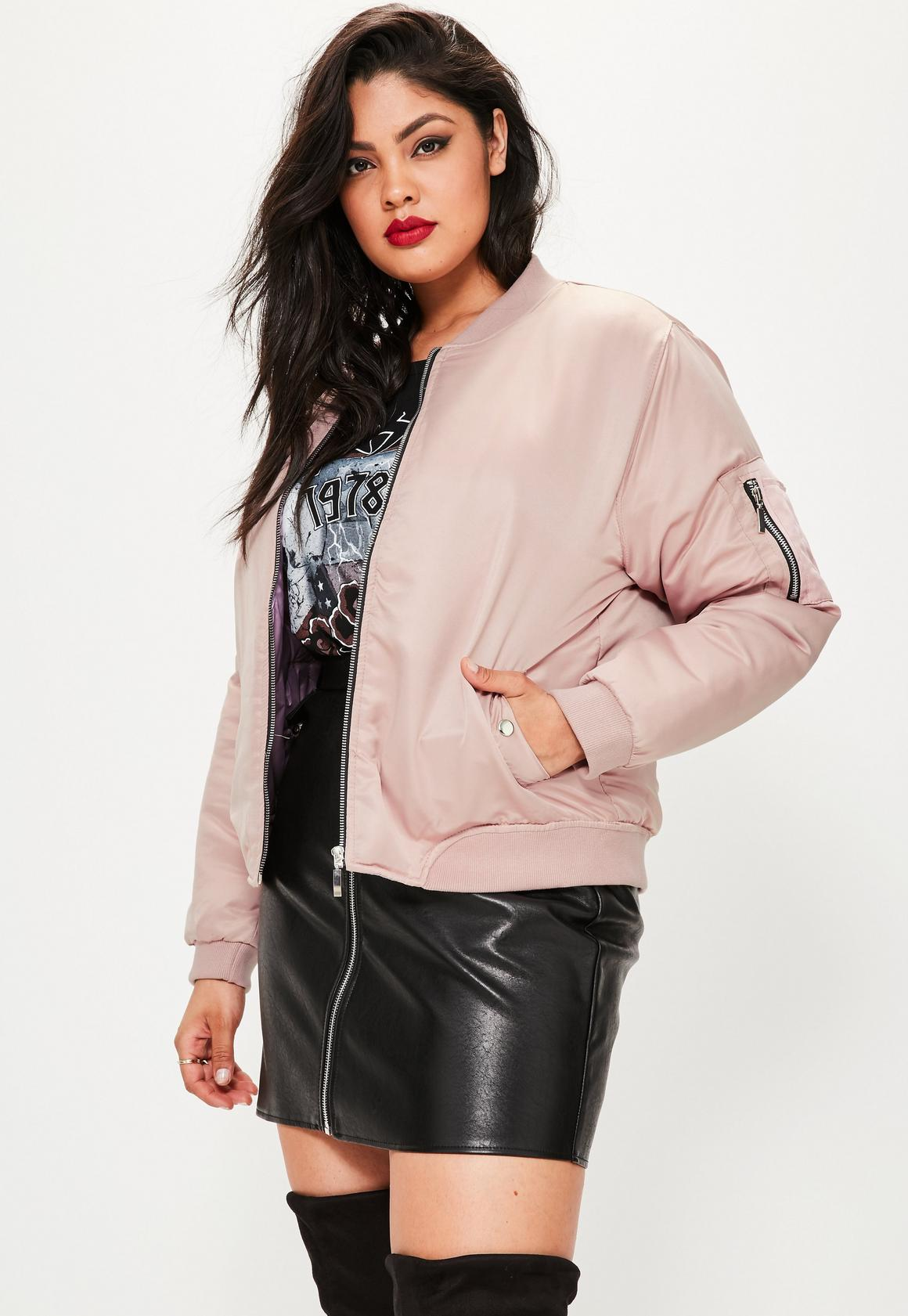 Plus Size Pink Soft Touch Bomber Jacket | Missguided