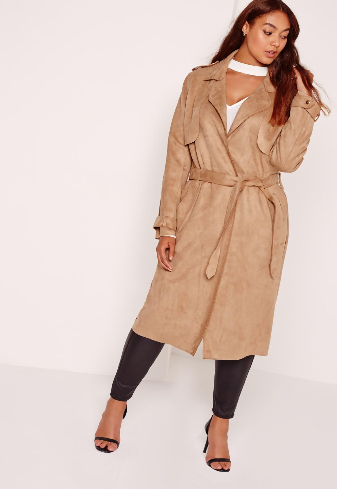 Plus Size Raw Seam Faux Suede Trench Coat Camel
