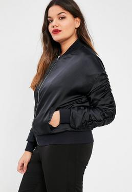 Plus Size Navy Ruched Sleeve Satin Bomber Jacket