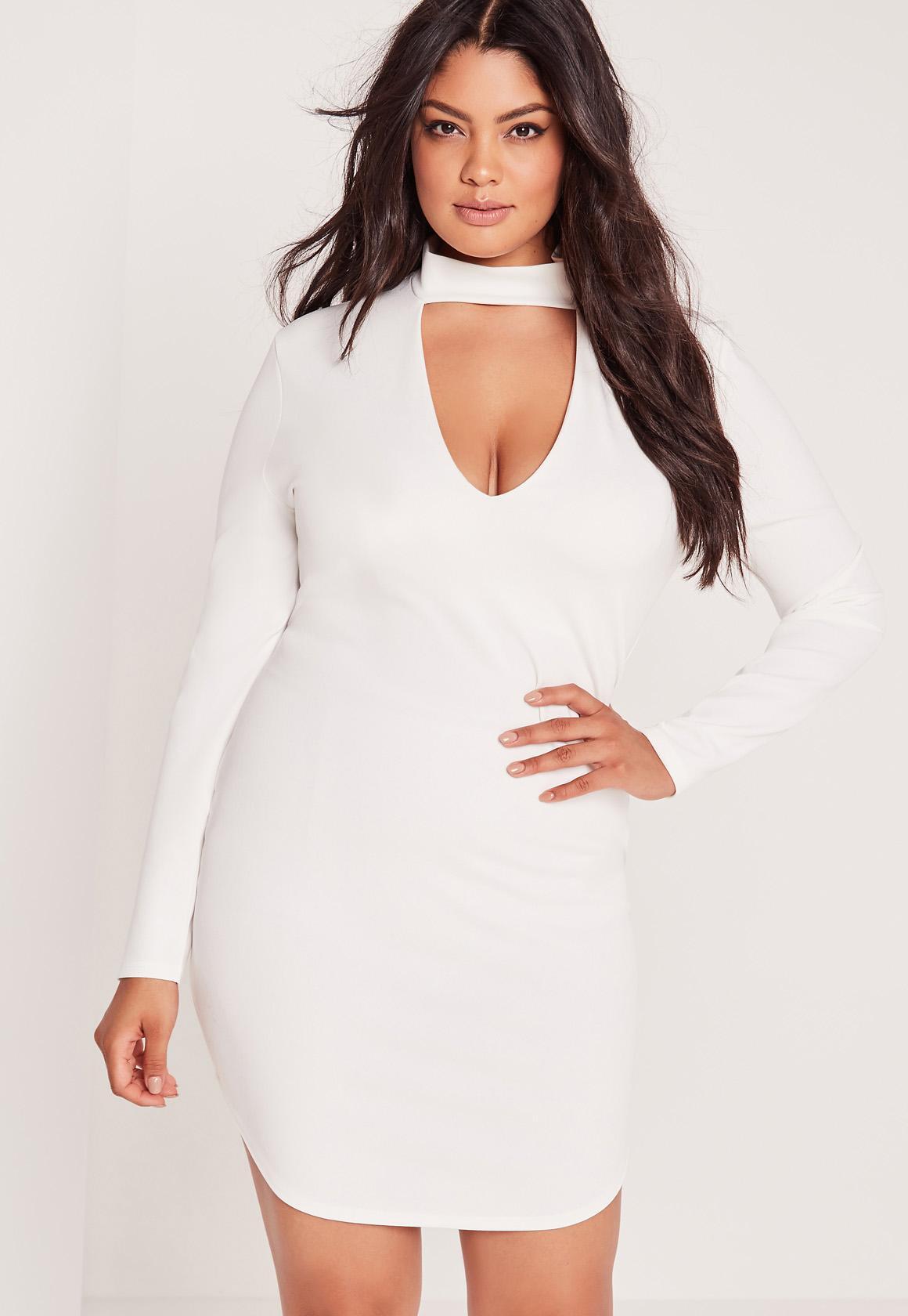 Plus Size Choker Curve Hem Bodycon Dress White | Missguided