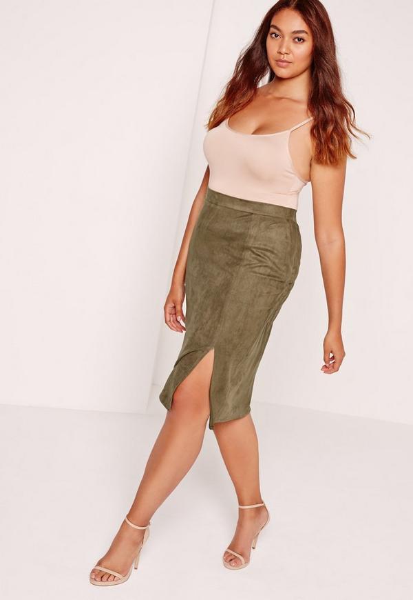 Plus Size Thigh Split Faux Suede Midi Skirt Khaki