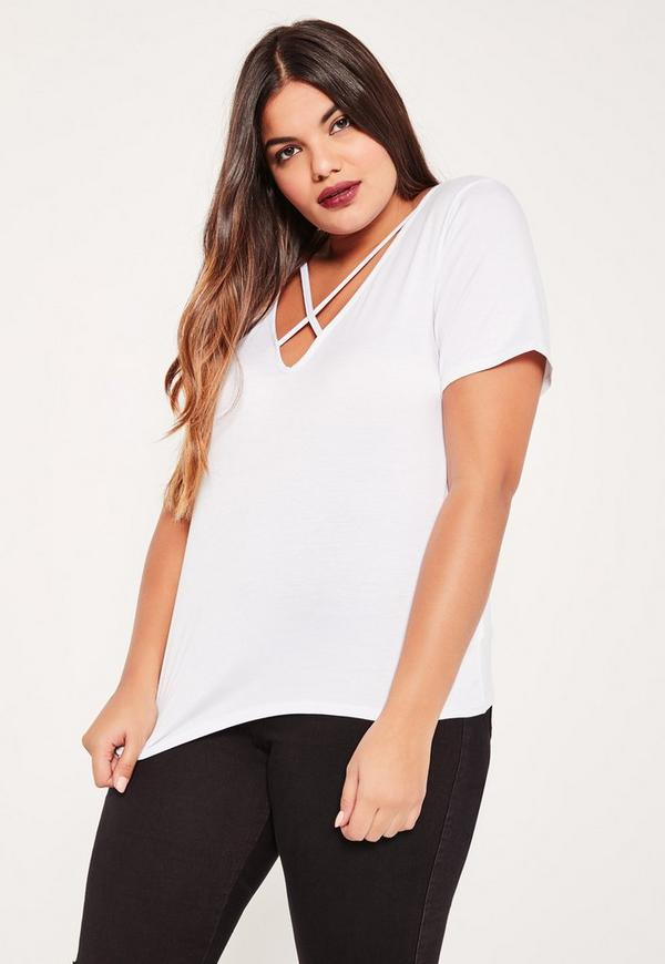 Plus Size White Cross Front T-Shirt
