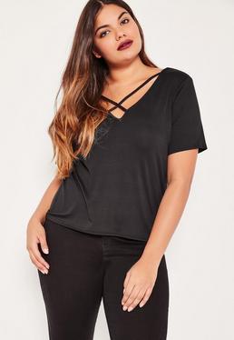T-shirt noir lanières croisées devant grande taille