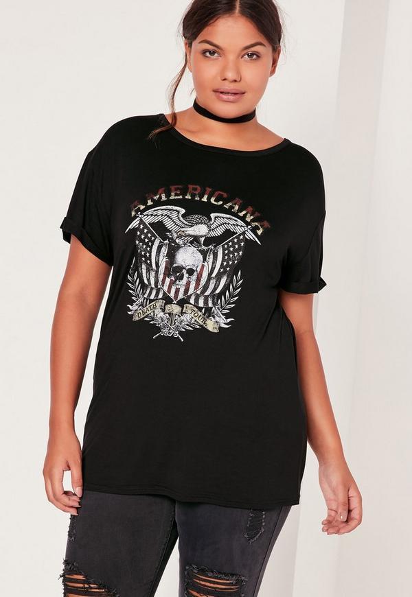 Plus Size Band T-Shirt Black