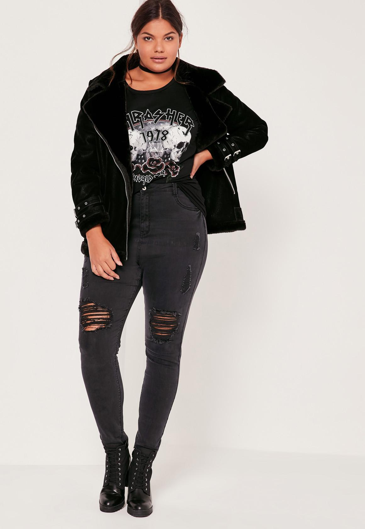 Plus Size Thrasher Band T Shirt Black| Missguided