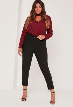 Plus Size D Ring Cigarette Trousers Black