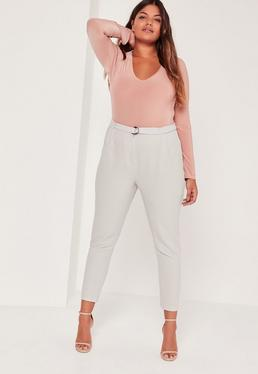 Plus Size D Ring Cigarette Trousers Grey