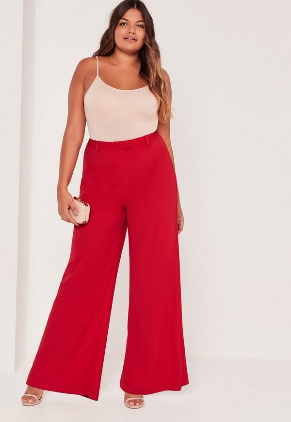Plus Size Wide Leg Trousers Red