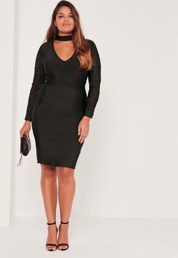 Hochgeschlossenes Plus-Size-Bandage-Kleid mit Mesh-Einsatz in Schwarz