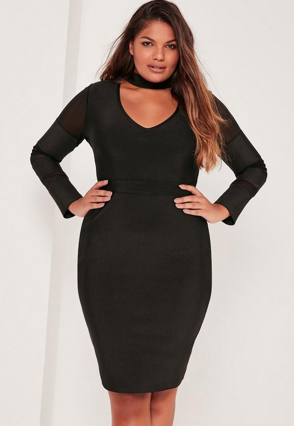 Plus Size Mesh Panel High Neck Bandage Dress Black Missguided