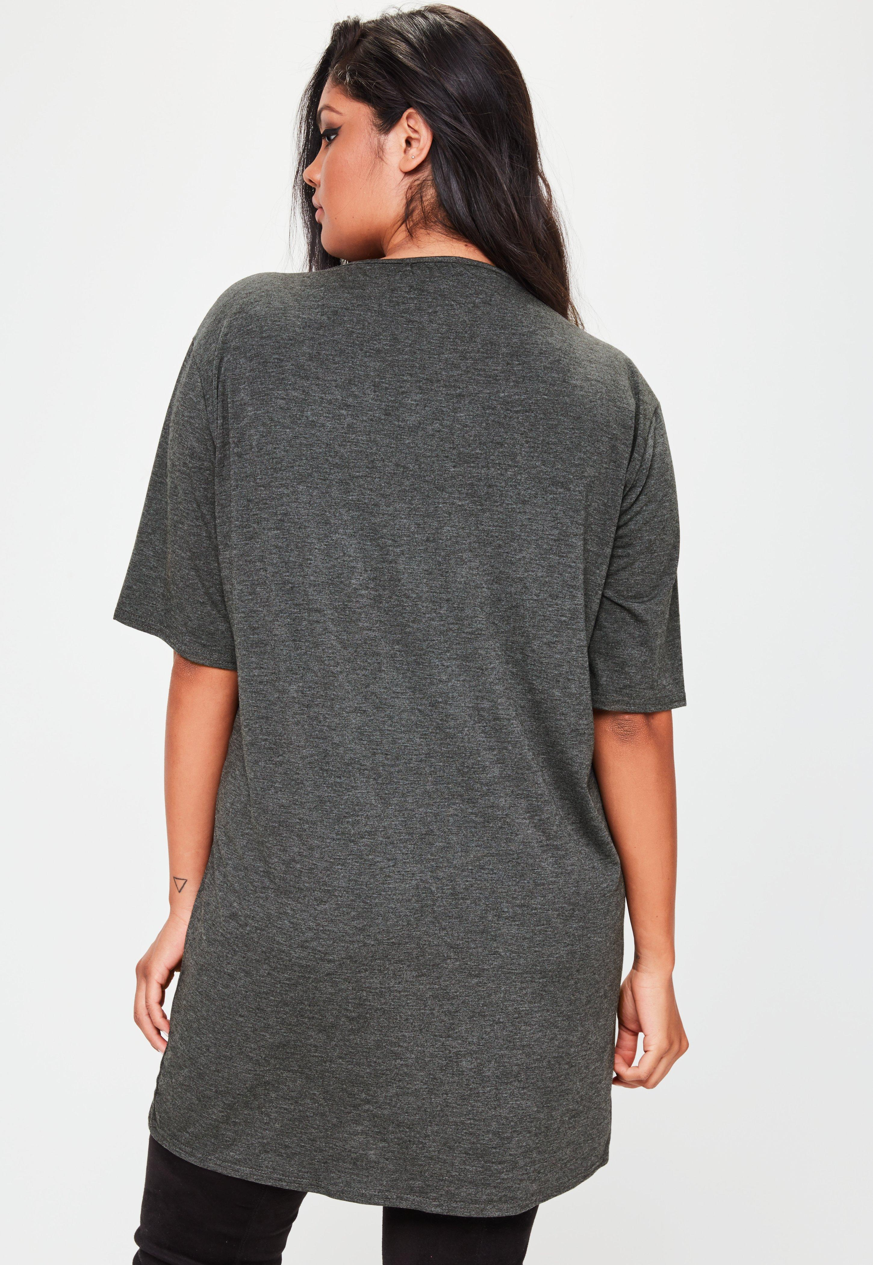 Plus Size Band T Shirt Dress Grey | Missguided