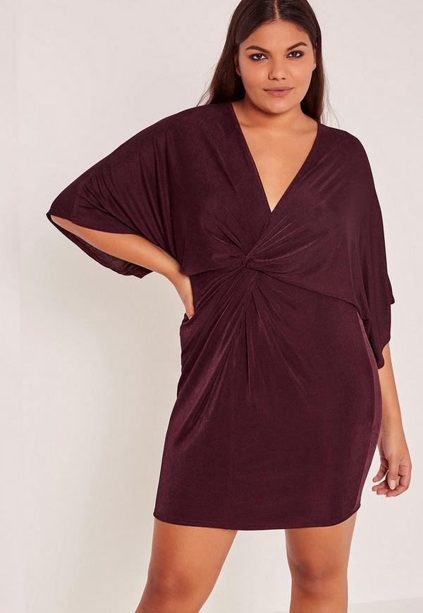 Purple Plus Size Slinky Kimono Mini Dress