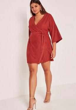 Red Plus Size Faux Suede Kimono Dress