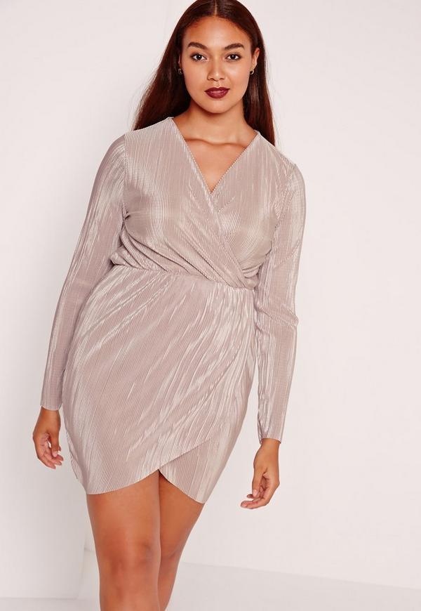 plus size pleated plunge wrap dress Mauve