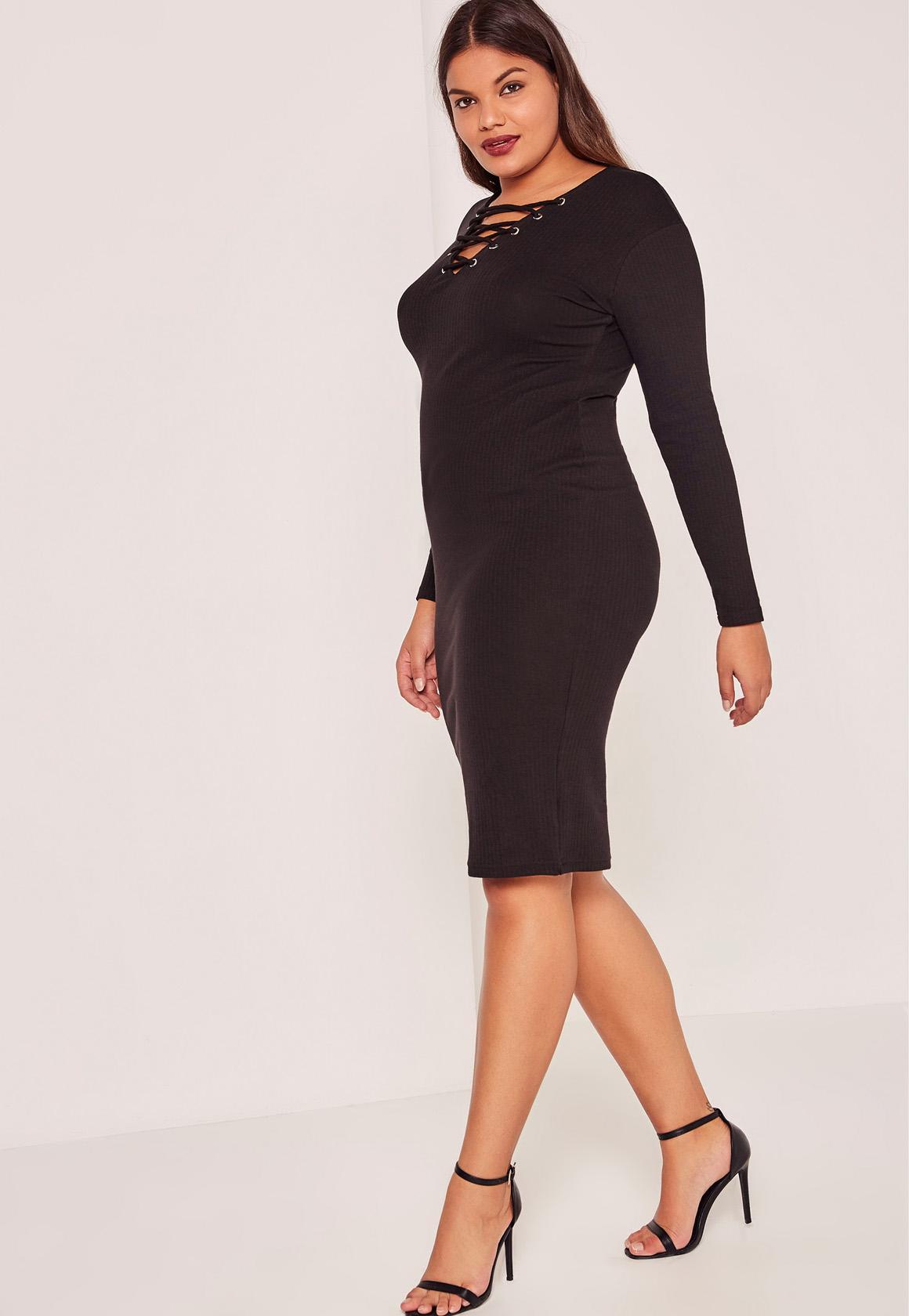 Black Plus Size Ribbed Lace Up Midi Dress