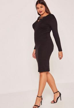 Black Plus Size Ribbed Lace Up Midi Dress