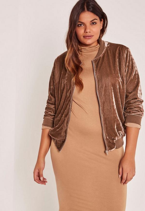 Bronze Plus Size Velvet Bomber Jacket