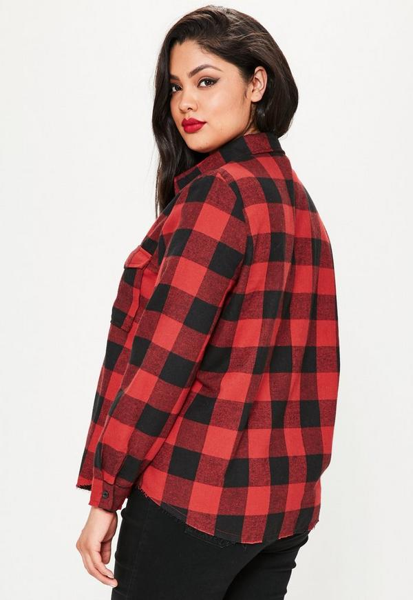 cURVE Red Frayed Hem Checked Shirt | Missguided