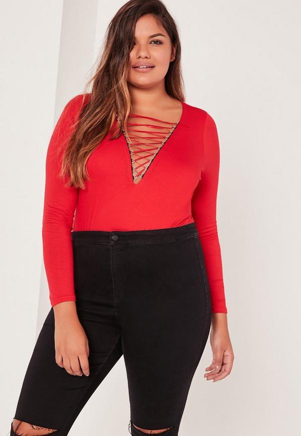 Plus Size Lace Up Bodysuit Red