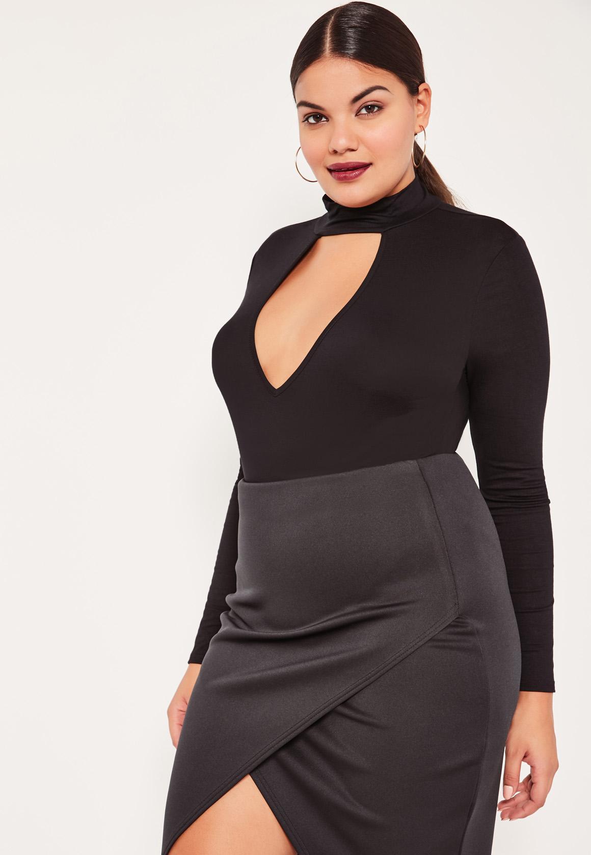 Plus Size Black Choker Neck Bodysuit | Missguided