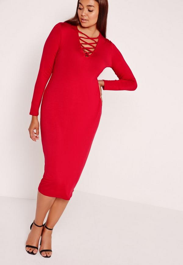 Plus Size Lace Up Dress Red
