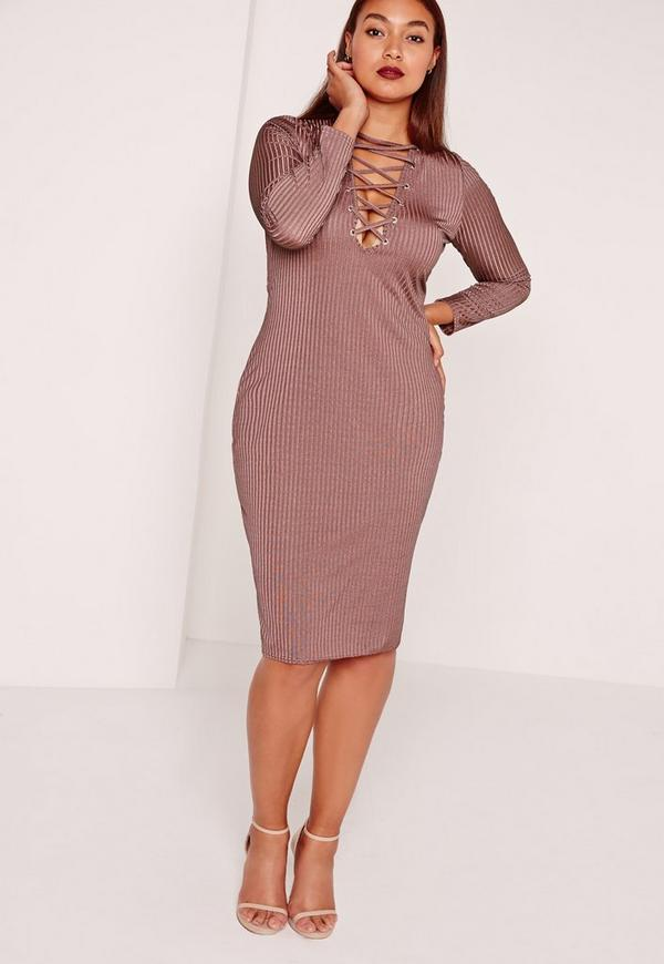 Plus Size Lace Up Midi Dress Purple