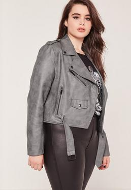 Plus Size Faux Leather Biker Jacket Grey