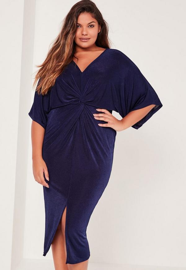 Plus Size Kimono Sleeve Midi Dress Navy