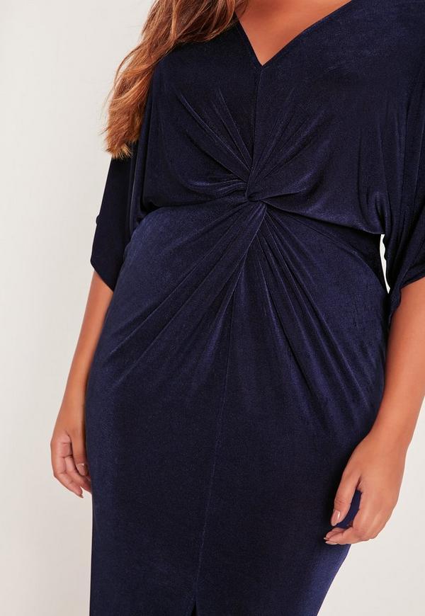 Plus Size Kimono Sleeve Midi Dress Navy Missguided