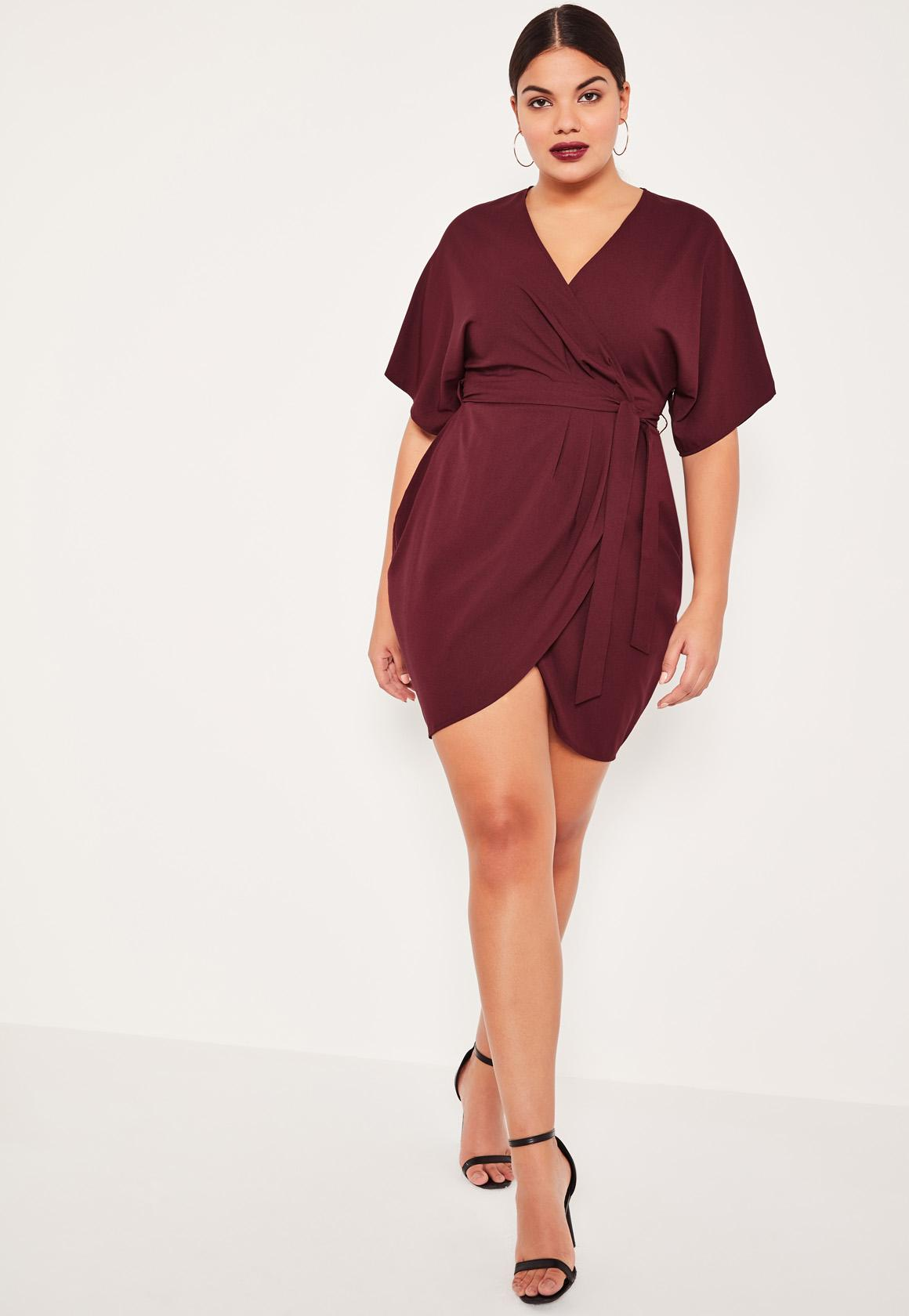plus size purple kimono wrap over belted mini dress | missguided
