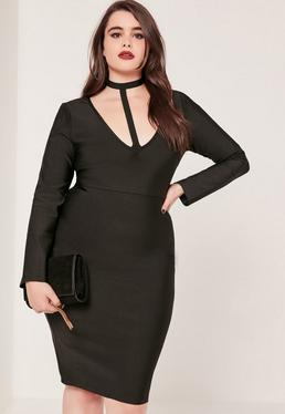 Plus Size Harness Neck Bandage Bodycon Dress Black