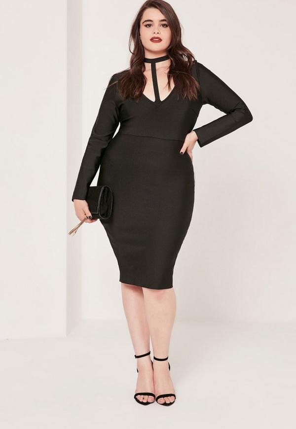Plus Size Harness Neck Bandage Bodycon Dress Black | Missguided
