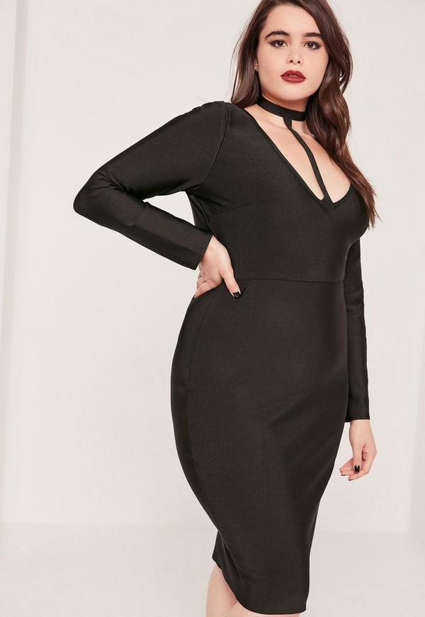 Plus Size Harness Neck Bandage Bodycon Dress Black | Missguided